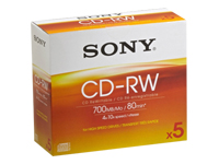 Sony CDRW700HSD - 5 x CD-RW - 700 MB ( 80min ) 4x - jewel case